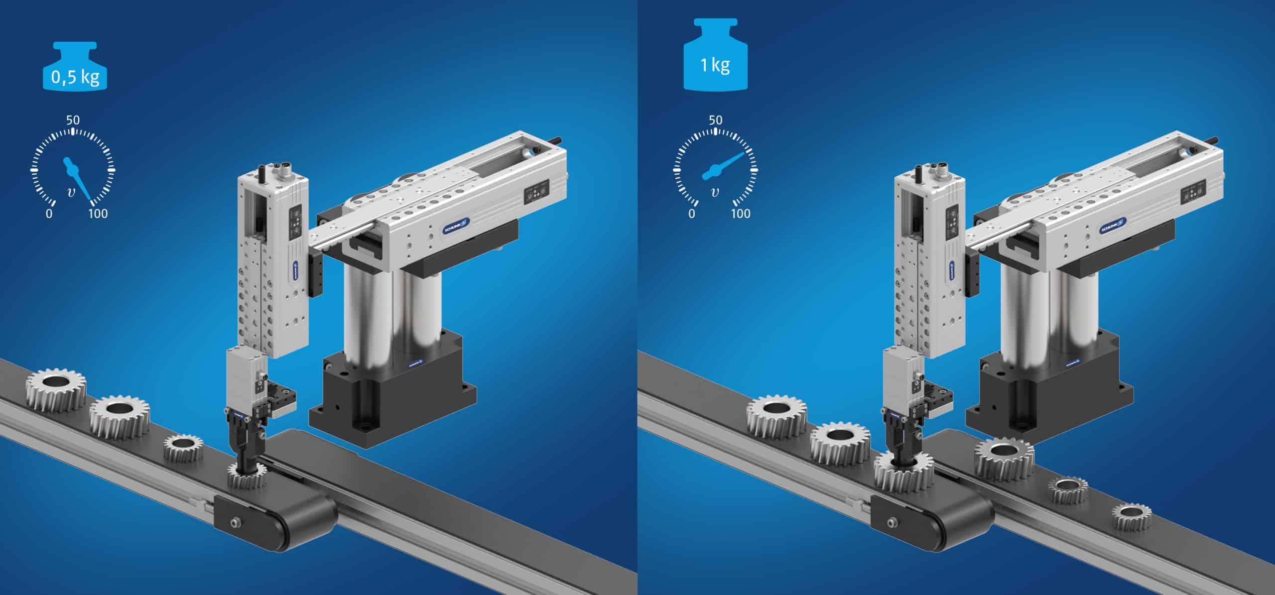 ELP Linearmodule passen ihr Bewegungsprofil mithilfe der Auto-Learn-Technologie selbstständig an das jeweilige Teilegewicht an.