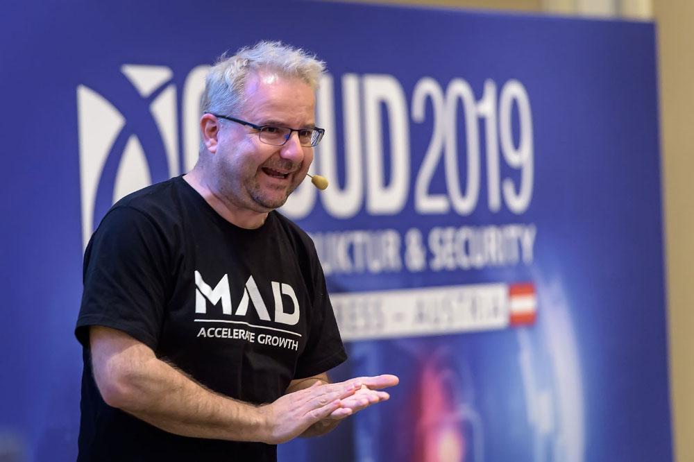 Dr. Wieland Alge, Managing Partner (MAD ventures), erzählte äußerst unterhaltsam über erfolgreiche kriminelle Geschäftsmodelle und wie diese durch clevere Digitalisierung plötzlich global einsetzbar sind.