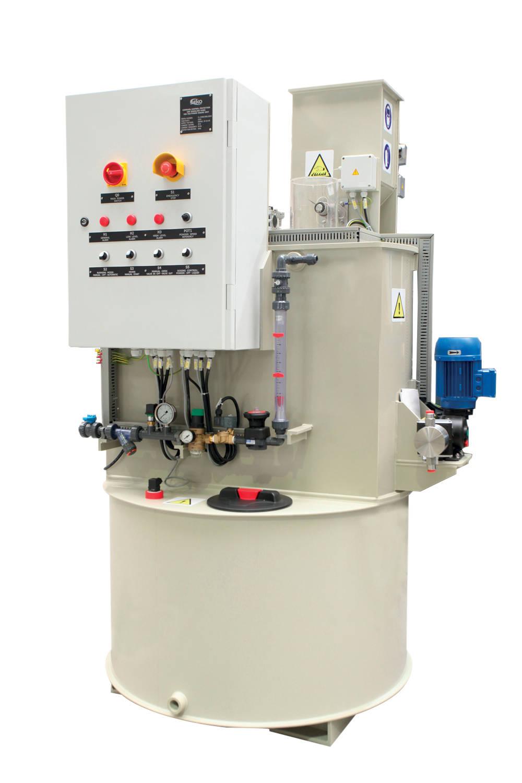 Als komplette und maßgeschneiderte Stationen gibt es Polymer-Aufbereitungsanlagen zum Lösen von Pulver und Granulat sowie zum Verdünnen von konzentrierten Flüssigkeiten.