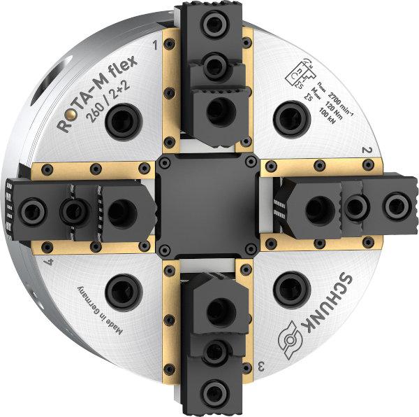 Abgedichtete Führungsbahnen gewährleisten beim zentrisch ausgleichenden SCHUNK ROTA-M flex 2+2 eine hohe Prozesssicherheit. Bild: SCHUNK